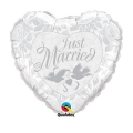 JUST MARRIED SILVER HEART folija balon