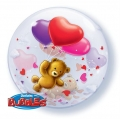 Teddy's Bear Floating Heart - bubble balon