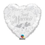 JUST MARRIED SILVER HEART folija balon