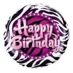 Birthday Zebra Print - folija balon