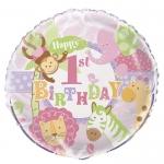 PINK SAFARI 1. ROĐENDAN folija balon