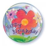 Happy Birthday Flower Bubble balon