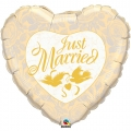 Just Married Ivory & Gold' Heart