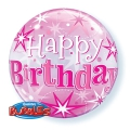 BDAY PINK STARBURST SPARKLE - bubble balon
