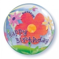 Happy Birthday Flower Bubble balon